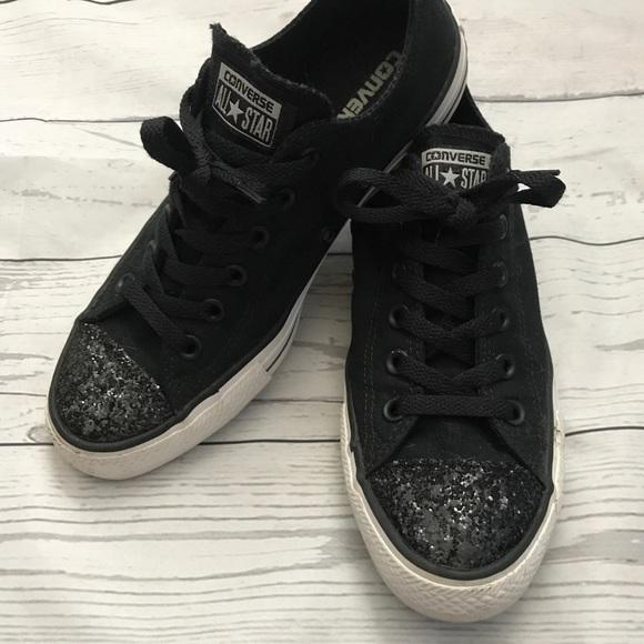 9b539f49bedb70 Converse Shoes - Black converse with black glitter toe